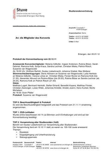 An: die Mitglieder des Konvents - Stuve Uni Erlangen-Nürnberg