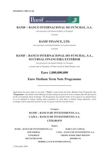 banif finance, ltd.