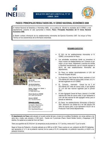 PASCO: PRINCIPALES RESULTADOS DEL IV CENSO ... - Inei