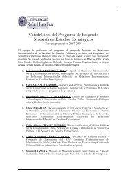 Catedráticos del Programa de Posgrado Maestría en Estudios ...