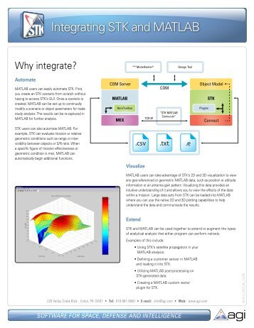 Integrating STK and MATLAB flyer - AGI