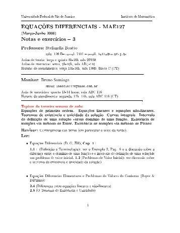 Lista 3 de Exercícios + notas - UFRJ