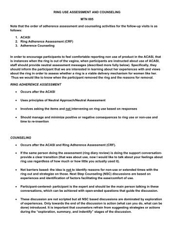 RING USE ASSESSMENT AND COUNSELING MTN 005 Note that ...