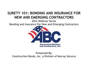 surety 101: bonding and insurance for new and emerging contractors