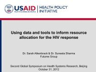 Using data and tools to inform resource allocation for the HIV response