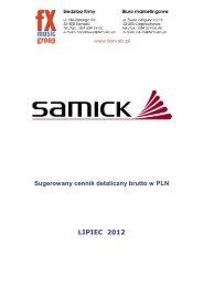 Samick Digital Piano - Sugerowany cennik ... - FX-Music Group