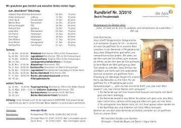 Rundbrief Nr. 3/2010 - die Apis Freudenstadt