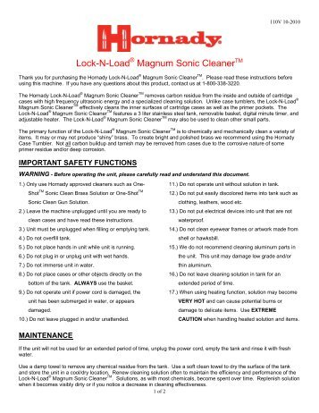 Lock-N-Load Magnum Sonic Cleaner - Hornady