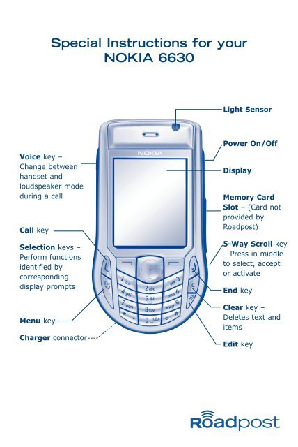 Special Instructions for your NOKIA 6630 - Roadpost