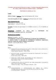Lista de trabalhos aprovados distribuídos por eixos