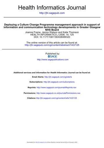 Deploying a Culture Change Programme Management Approach