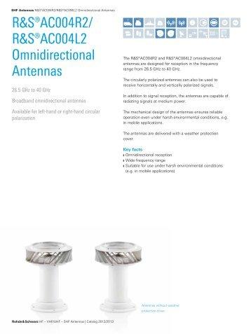 R&S®AC004R2/AC004L2 Omnidirectional ... - Rohde & Schwarz