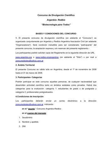 CONCURSO DE DIVULGACIÓN CIENTÍFICA Argenbío ... - ArgenBio
