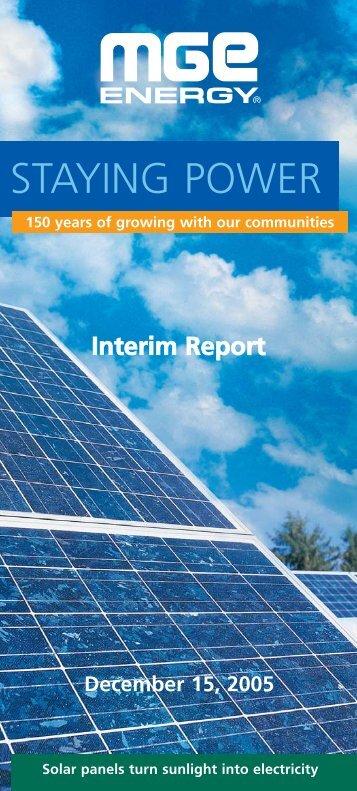 MGE Energy Interim Report - December 15, 2005
