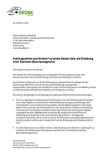 Stellungnahme Stellungnahme zum Entwurf zu ... - Grüne Baselland
