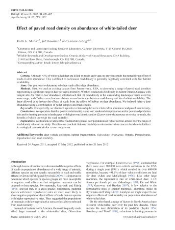 Effect of paved road density on abundance of white-tailed deer