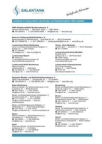 Verbände für Sehbehinderte und Blinde - salantana.de
