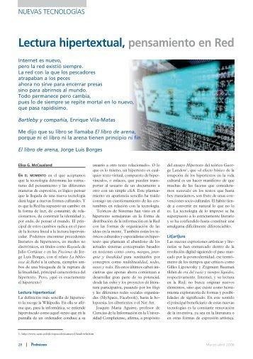 Lectura hipertextual, pensamiento en red - Revista Profesiones