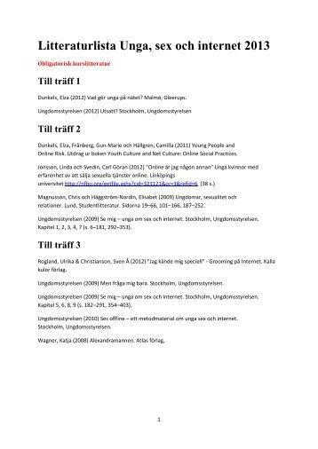 Litteraturlista Unga, sex och internet 2013 - Ungdomsstyrelsen