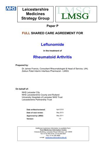 Leflunomide - Leicestershire Medicines Strategy Group