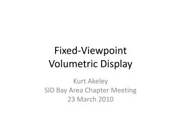 Fixed-viewpoint volumetric display - Sidchapters.org