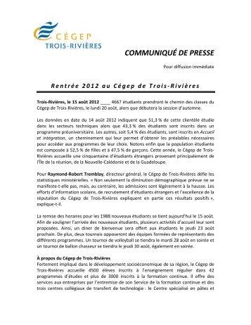 COMMUNIQUÉ DE PRESSE - Cégep de Trois-Rivières