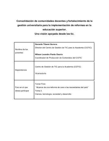 Consolidación de comunidades docentes y fortalecimiento de la ...