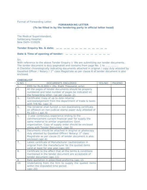 Format Of Forwarding Letter FORWARDING LETTER To Be Filled