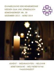 Gemeindebrief Nr. 39 Dezember 2013 bis März 2014