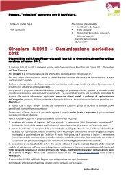 Circolare 3/2013 – Comunicazione periodica 2012 - Fondo Pegaso