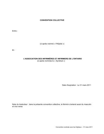 CONVENTION COLLECTIVE - Ontario Nurses' Association