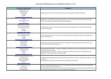 University of Roehampton List of Collaborative Partners 12-13