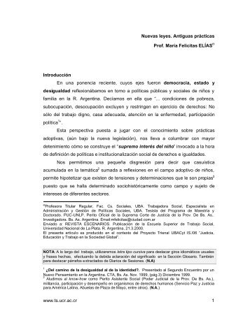 www.ts.ucr.ac.cr 1 Nuevas leyes. Antiguas prácticas Prof. María ...