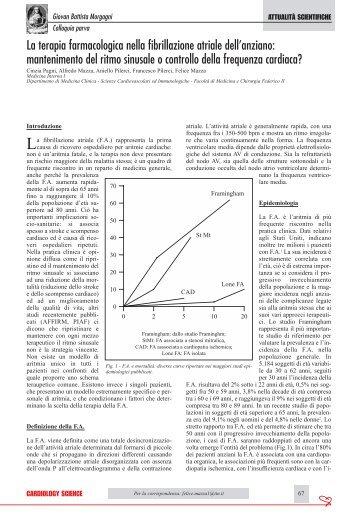La terapia farmacologica nella fibrillazione atriale dell'anziano - sicoa