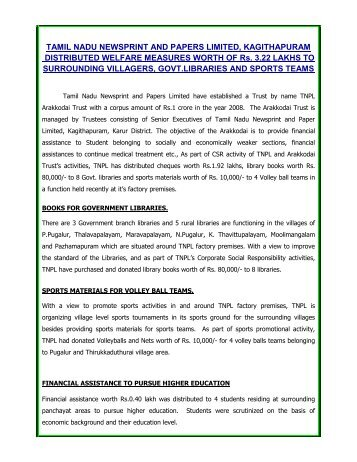 A study on tamil nadu newsprint