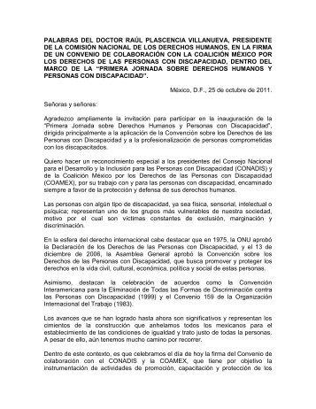 Palabras del Dr. Raúl Plascencia Villanueva - Comisión Nacional ...