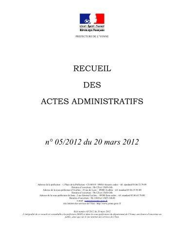 Recueil n°5 du 20 mars 2012 - 0,99 Mb - Préfecture de l'Yonne