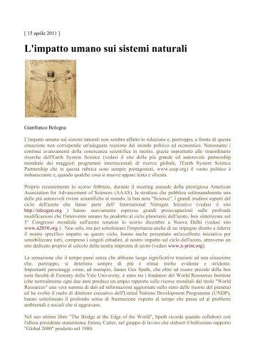 L'impatto umano sui sistemi naturali - Vasfvgaltolivenza.it