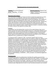 Enseignement pour les parents adolescents Territoire : Île-du-Prince ...