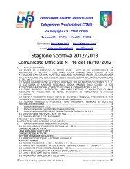 COMUNICATO n.16 del 18/10/2012 - FIGC