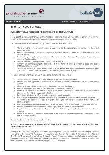 IMPORTANT NEWS & CIRCULAR Bulletin 6 of 2013 Bulletin 20 of ...