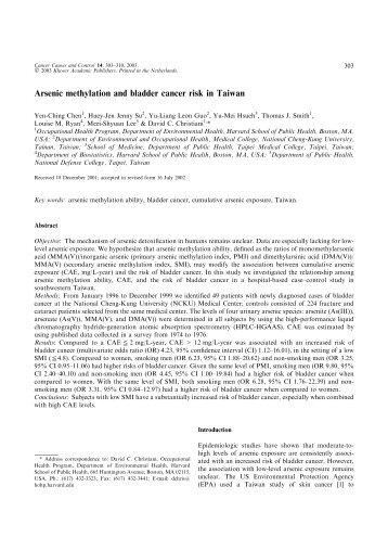 Arsenic methylation and bladder cancer risk in Taiwan