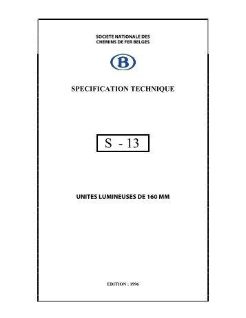SPECIFICATION TECHNIQUE - Infrabel