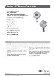 FlexBar HRT Pressure Transmitter - Baumer