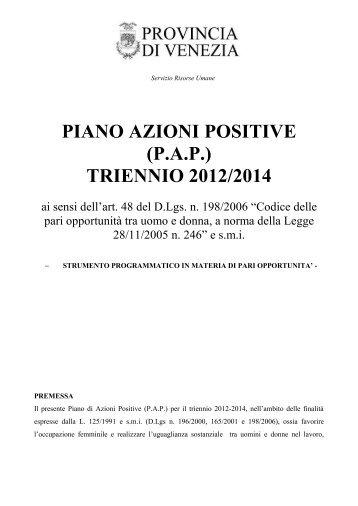 Piano delle Azioni Positive - Pari Opportunità in Provincia di Venezia