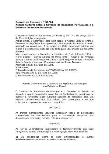 Acordo Cultural entre o Governo da República Portuguesa e o ...
