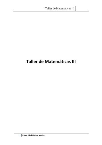 Taller de Matemáticas III