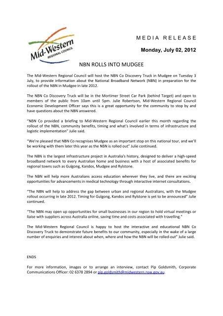 NBN rolls into Mudgee - Mid Western Regional Council