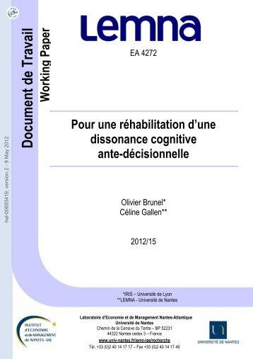 Pour une réhabilitation d'une dissonance cognitive ante-décisionnelle