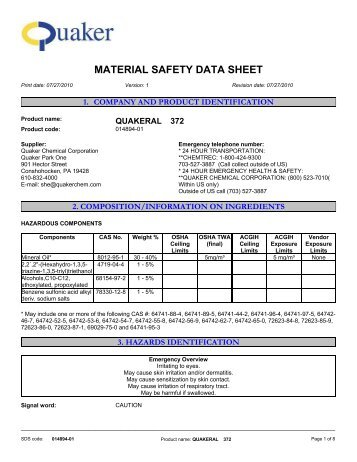 MATERIAL SAFETY DATA SHEET - Quaker Chemical Corporation